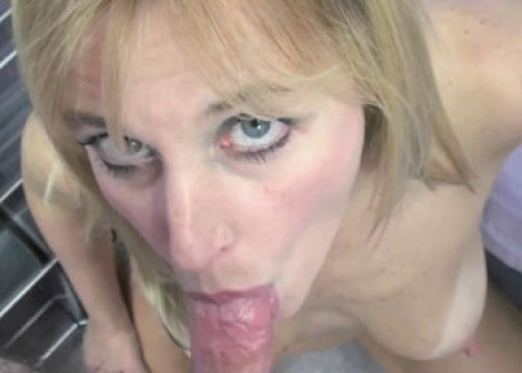 Curvy blonde Liisa is sucking dick